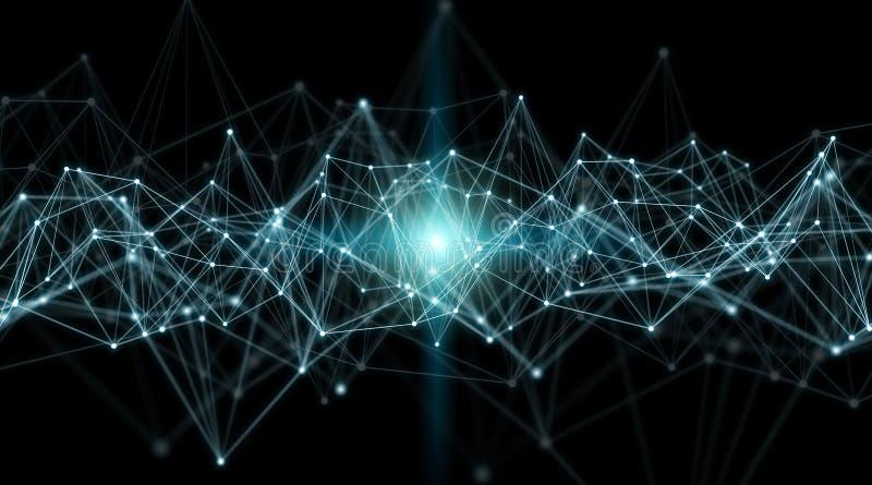 Conexões sistema e rendição das trocas de dados 3D ilustração stock