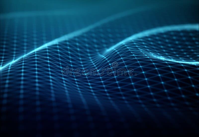 Conex?o de rede digital abstrata na rendi??o escura do fundo 3D ilustração stock