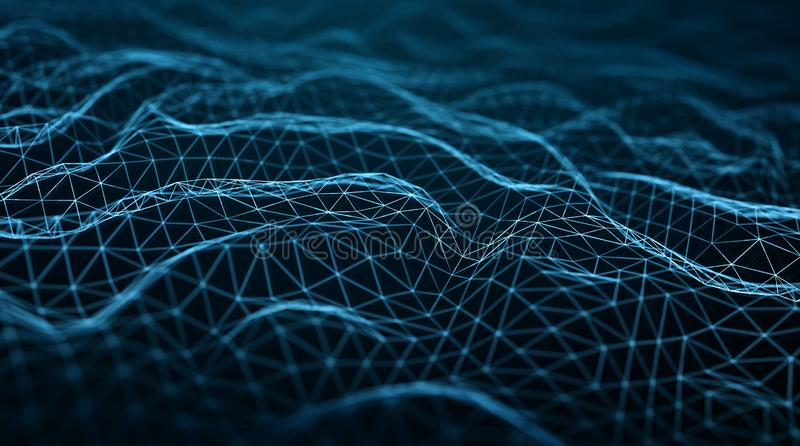 Conex?o de rede digital abstrata na rendi??o escura do fundo 3D ilustração royalty free