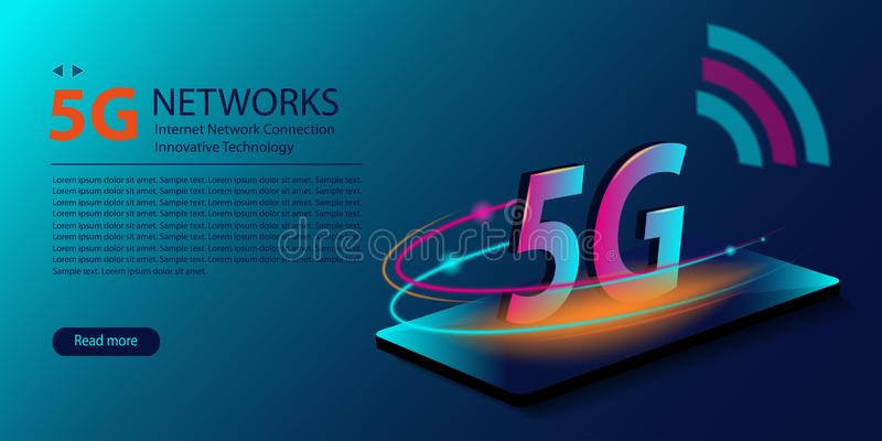 conex?o sem fio nova do wifi do Internet da rede 5G Gera??o inovativa da faixa larga global do Internet de alta velocidade tecnol ilustração do vetor