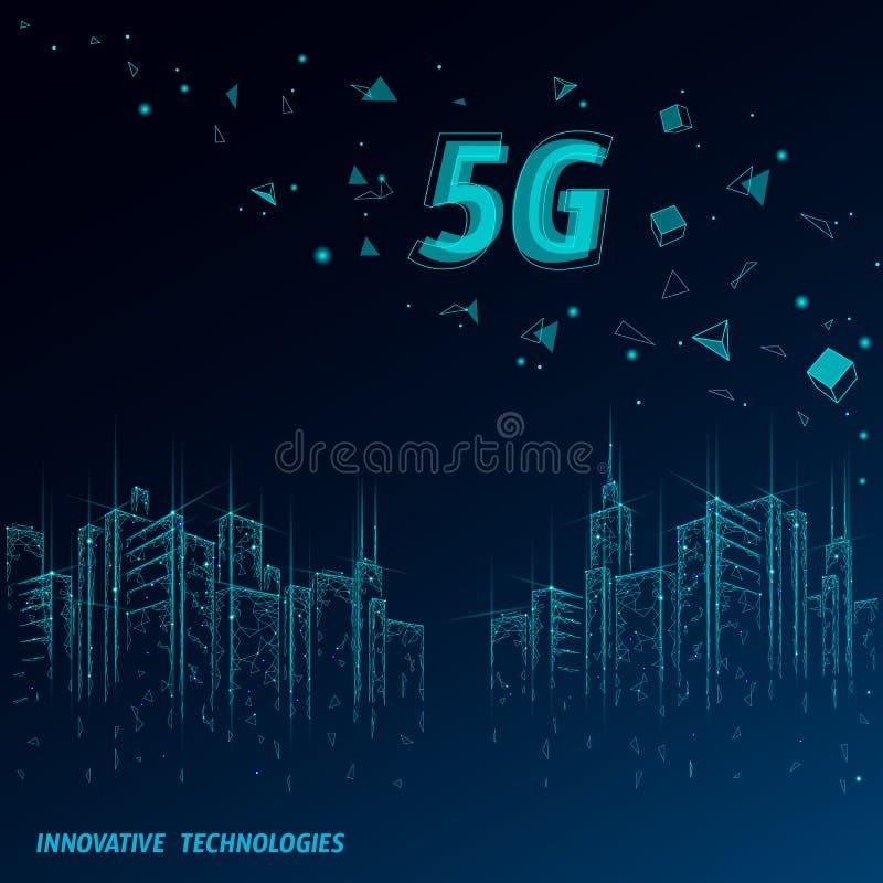 conex?o sem fio nova do wifi do Internet 5G Arquitetura da cidade urbana das construções Conex?o de alta velocidade da inova??o d ilustração royalty free