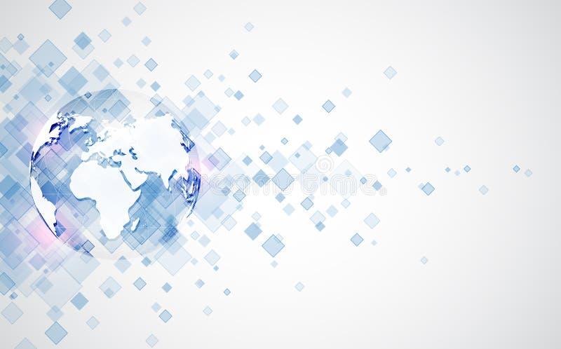 Conexión abstracta de la tecnología digital en el fondo del concepto de la tierra, ejemplo del vector ilustración del vector
