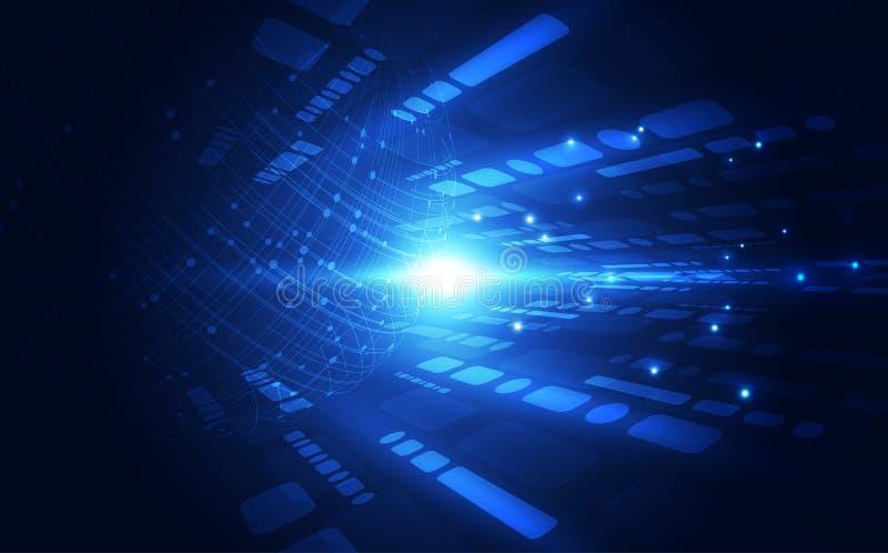 Conexión abstracta de la tecnología digital en el fondo del concepto de la tierra, ejemplo del vector libre illustration