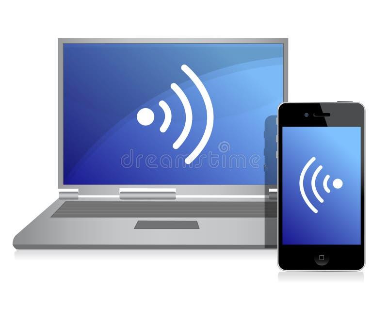 Conexión atada con alambre entre el teléfono móvil y la computadora portátil ilustración del vector