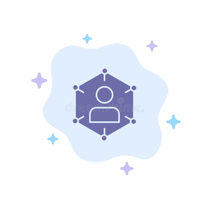Conexión, comunicación, red, gente, personal, social, icono azul del usuario en fondo abstracto de la nube stock de ilustración