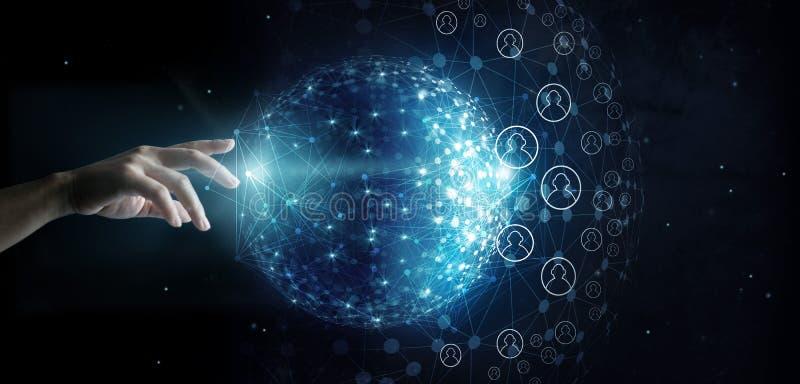 Conexión conmovedora del cliente de la red global de la mano stock de ilustración