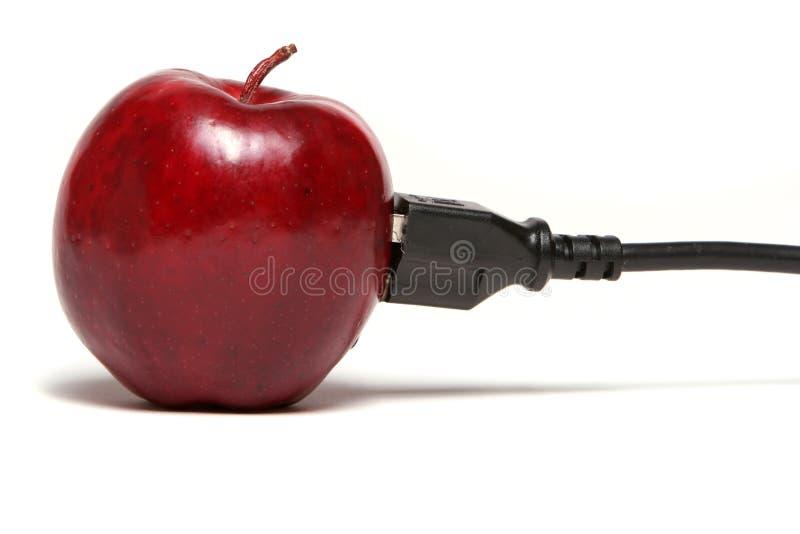 Conexión de cable roja de la manzana fotos de archivo libres de regalías