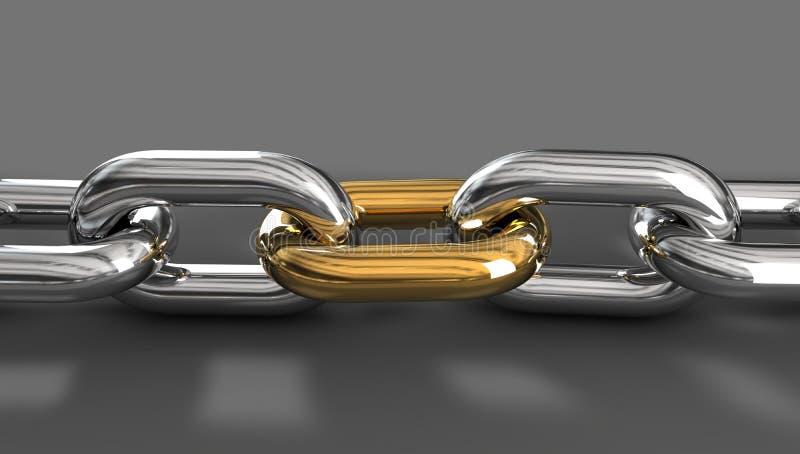 Conexión de cadena de oro stock de ilustración