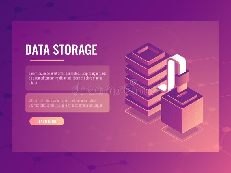 Conexión de datos y concepto isométrico de la transmisión, sitio del servidor, acceso a bases de datos, ómnibus de datos 3d stock de ilustración