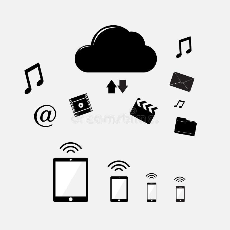 Conexión de dispositivos inalámbricos al illustra del vector del almacenamiento de la nube stock de ilustración