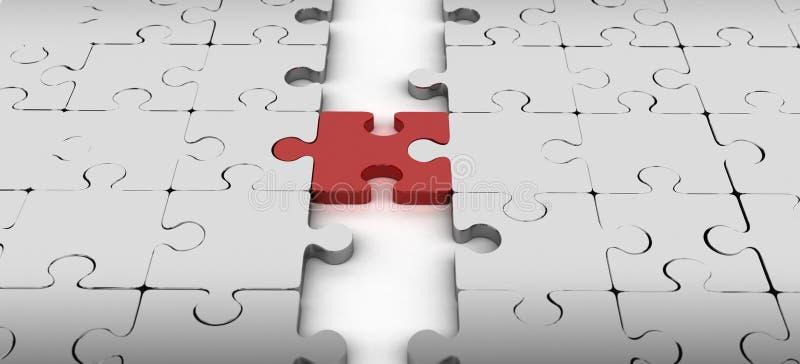 Conexión de dos bloques con el pedazo rojo del rompecabezas stock de ilustración
