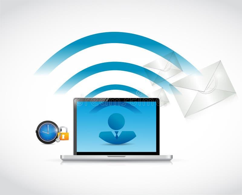 Conexión de la comunicación empresarial del ordenador portátil libre illustration
