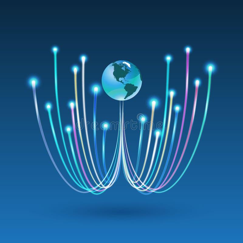 Conexión de la fibra óptica para la comunicación empresarial libre illustration