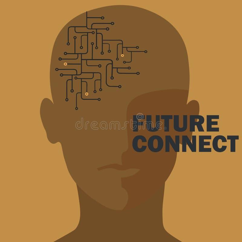 Conexión de la inteligencia artificial Circuito del cerebro humano ilustración del vector