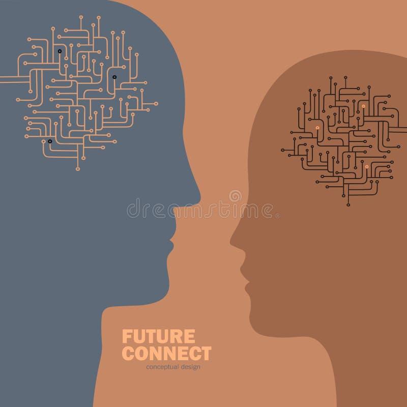 Conexión de la inteligencia artificial Circuito del cerebro humano libre illustration