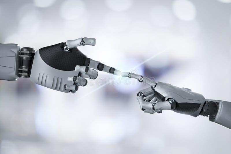 Conexión de la mano del robot stock de ilustración