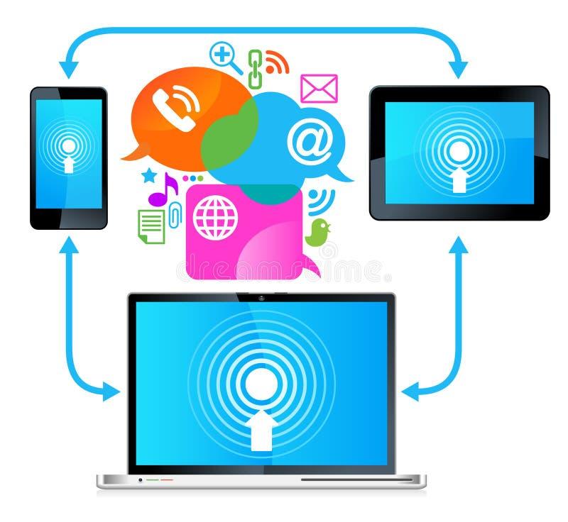 Conexión de la tablilla del teléfono de la computadora portátil stock de ilustración