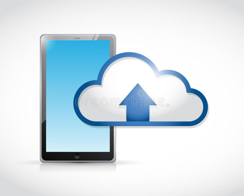 Conexión de la transferencia de la nube de la tableta stock de ilustración
