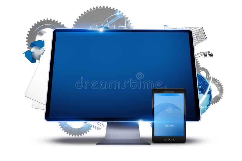 Conexión de los ordenadores libre illustration