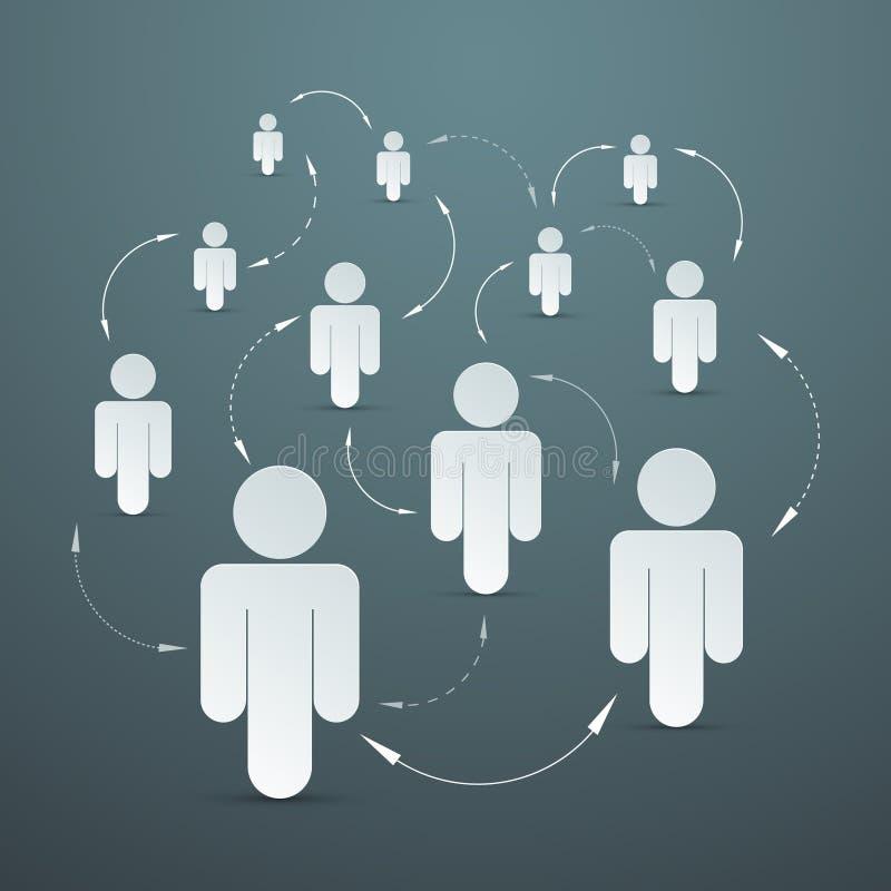 Conexión de papel de los medios de la gente del vector stock de ilustración