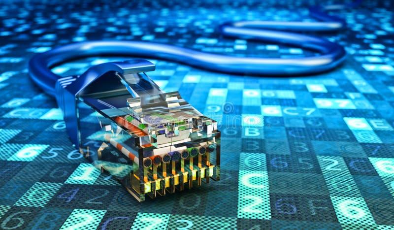Conexión de red, comunicación de Internet y concepto de la informática ilustración del vector