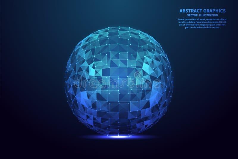 Conexi?n de red con los puntos y las l?neas Esfera poligonal abstracta Ilustraci?n del vector libre illustration