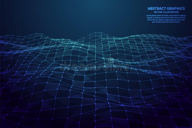Conexi?n de red con los puntos y las l?neas Malla poligonal abstracta Ilustraci?n del vector stock de ilustración