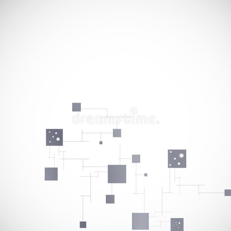 Conexión de red del color del vector y átomo de la DNA stock de ilustración