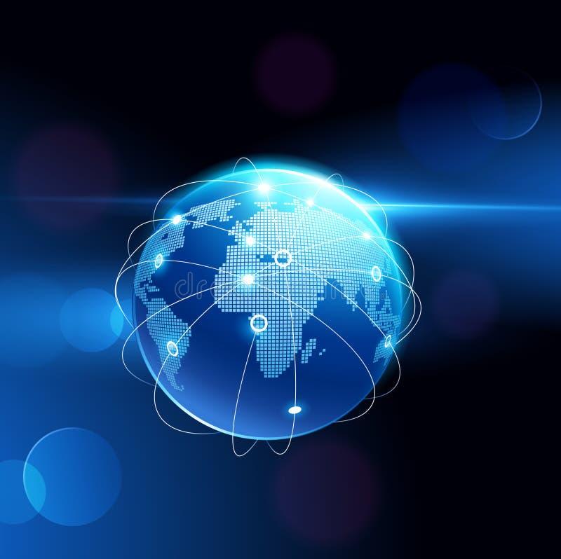 Conexión de red del globo Vector stock de ilustración
