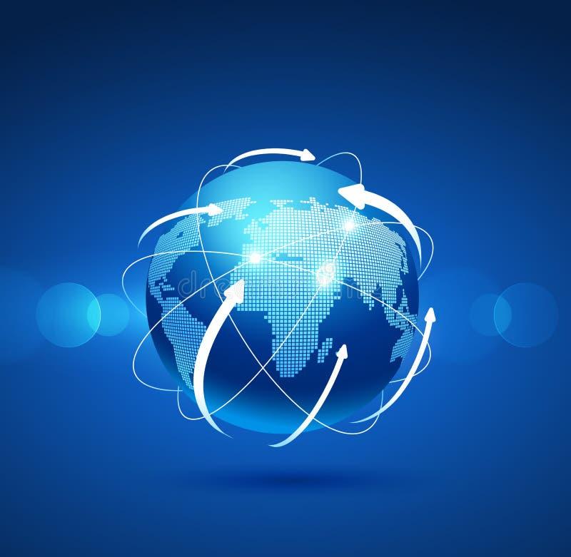 Conexión de red del globo Vector ilustración del vector