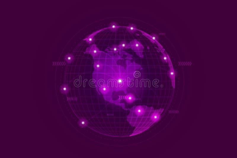 Conexión de red del negocio global Punto y línea composición del mapa del mundo stock de ilustración