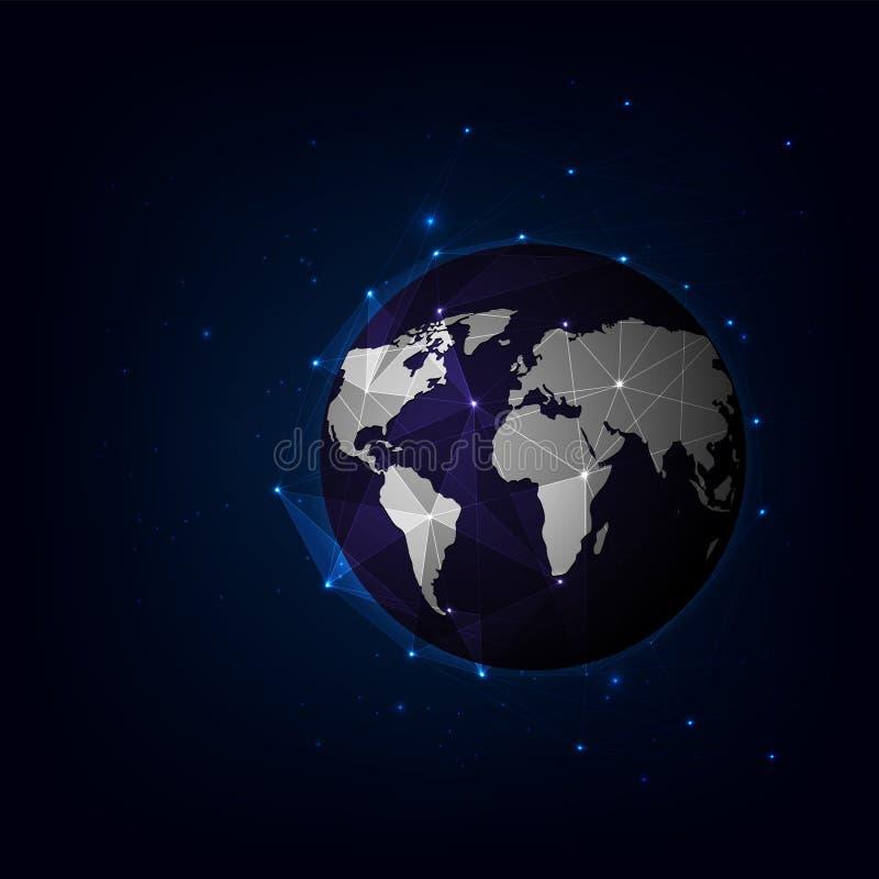 Conexión de red global del mapa del mundo, plexo futurista de la tecnología del fondo, ejemplo del vector ilustración del vector
