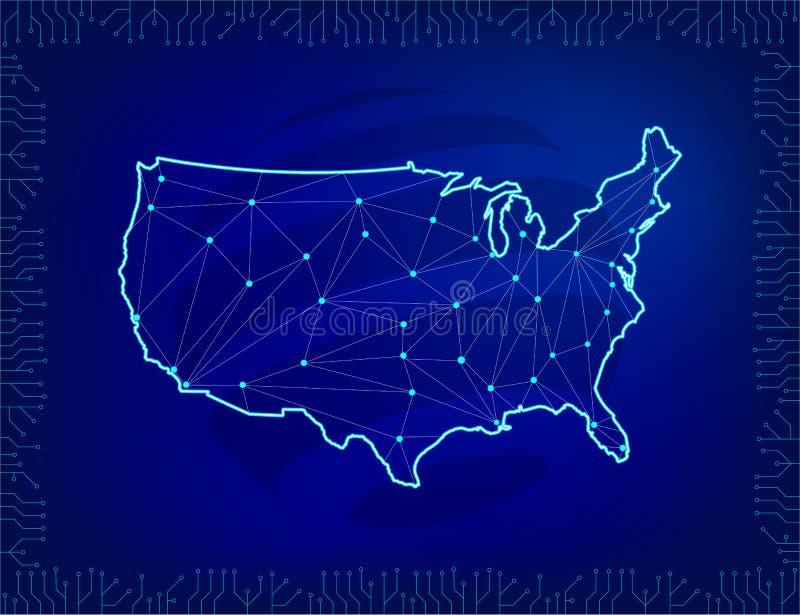 Conexión de red global Mapa de América en estilo poligonal y línea concepto de la composición del negocio global Elementos de una ilustración del vector