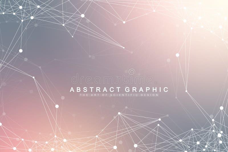 Conexión de red global Red y fondo grande de la visualización de los datos Negocio global futurista Vector ilustración del vector