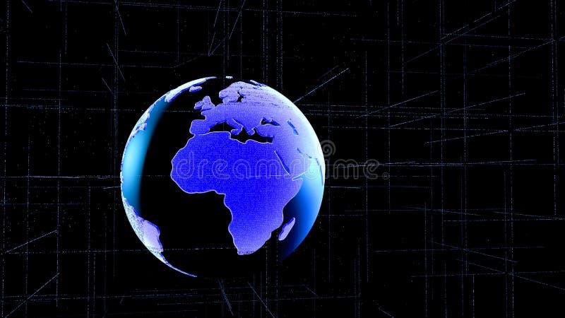 Conexión de red global Red y de intercambio de datos grande sobre la tierra del planeta en espacio Asunto global ilustración 3D stock de ilustración