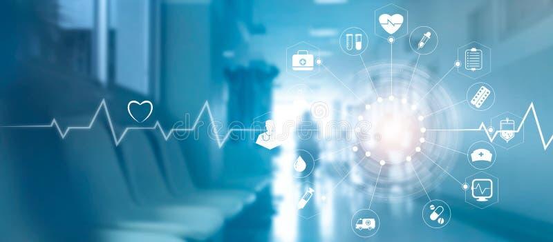 Conexión de red médica del icono con la pantalla virtual moderna inter libre illustration