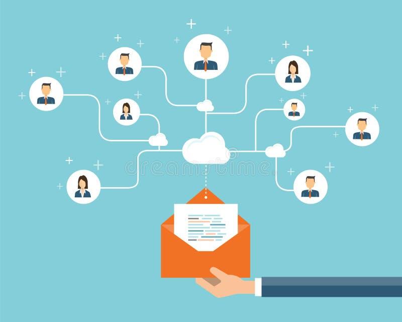 conexión del contenido del márketing del correo electrónico del negocio en gente ilustración del vector