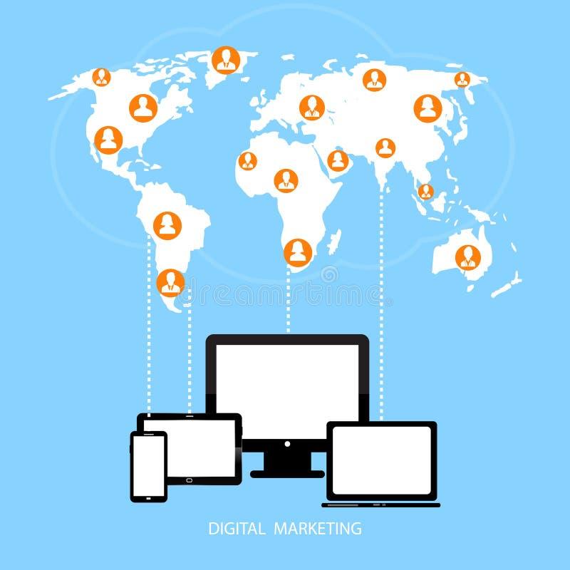 Conexión del equipo de escritorio de vector, comunicación en las redes de ordenadores globales stock de ilustración