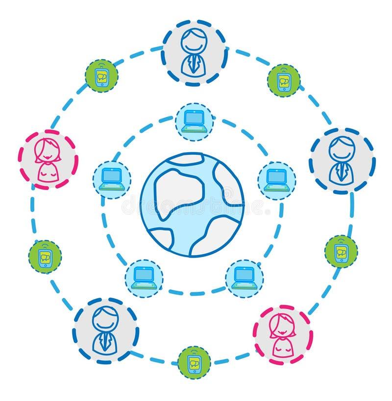 Conexión del Internet del globo   ilustración del vector