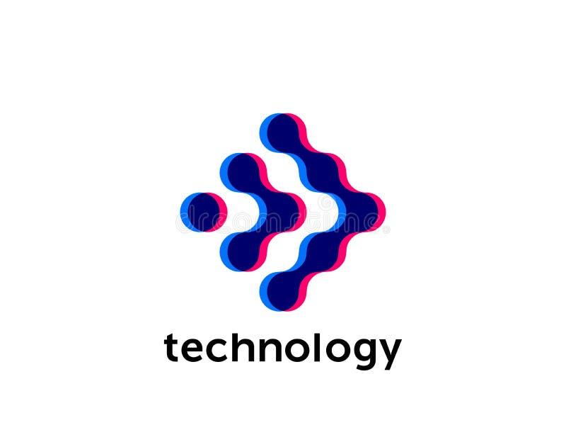 Conexión del punto del círculo del vector del logotipo del establecimiento de una red stock de ilustración