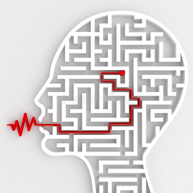 Conexión entre el cerebro y el discurso representación 3d fotos de archivo
