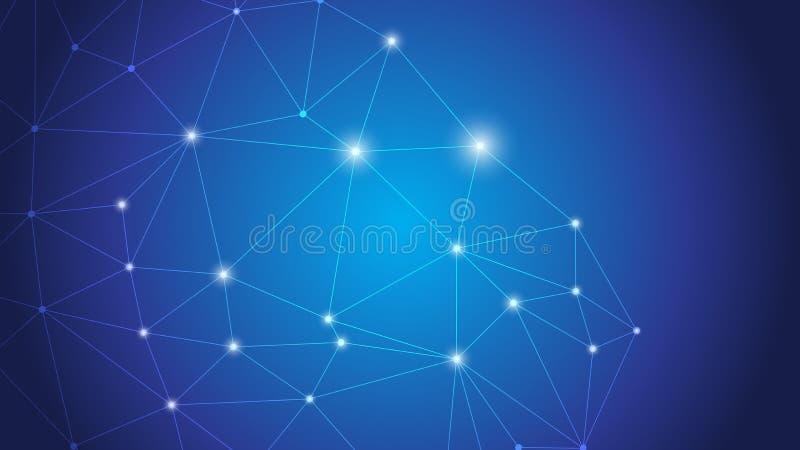 Conexión global del negocio, punto de conexión de la red abstracta, líneas, aisladas en fondo, concepto de la tecnología de Digit ilustración del vector