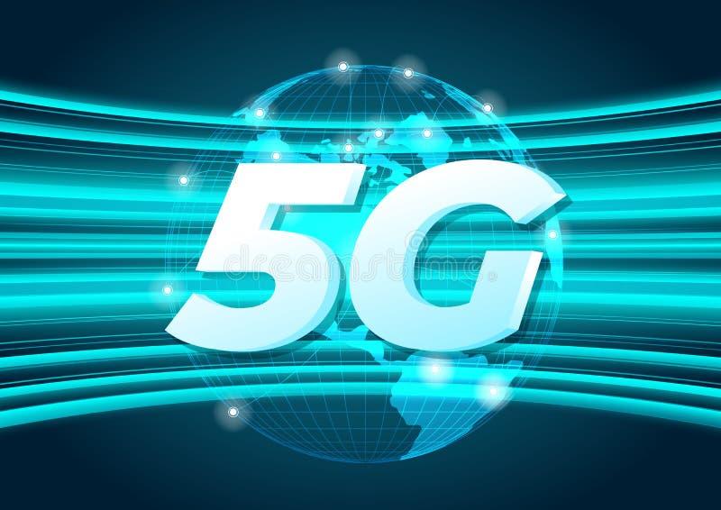 conexión global del nuevo wifi inalámbrico de Internet de la velocidad 5G ilustración del vector