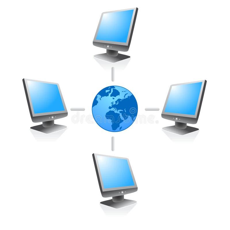Conexión global por el Internet stock de ilustración