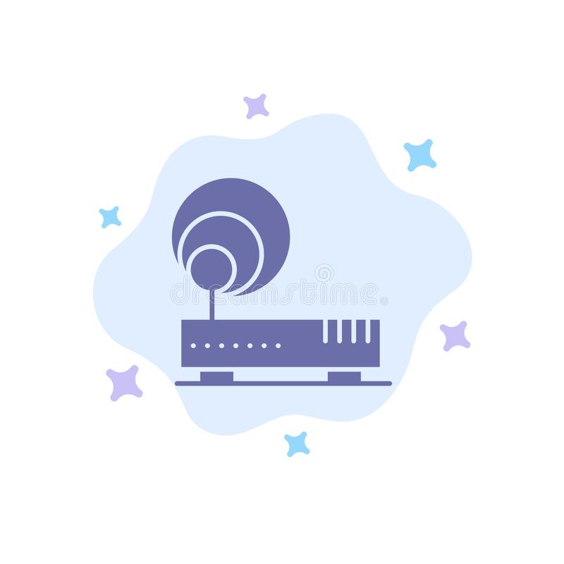 Conexión, hardware, Internet, icono azul de la red en fondo abstracto de la nube stock de ilustración