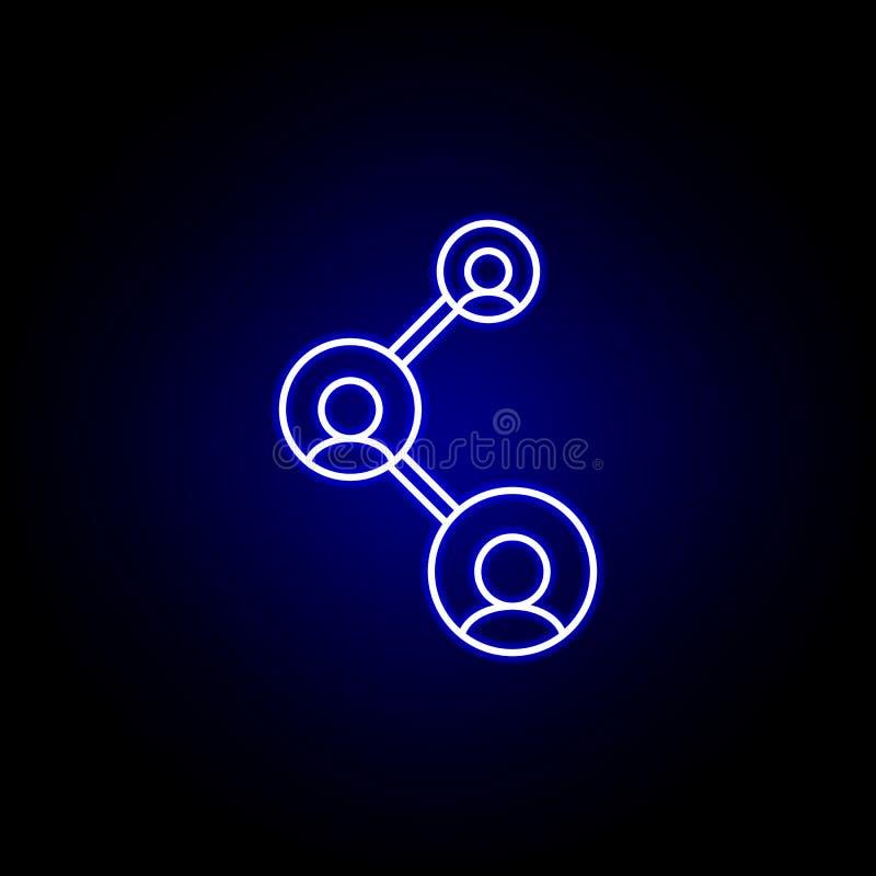 Conexión, icono del trabajo en equipo Elementos del ejemplo de los recursos humanos en el icono de ne?n del estilo Las muestras y libre illustration