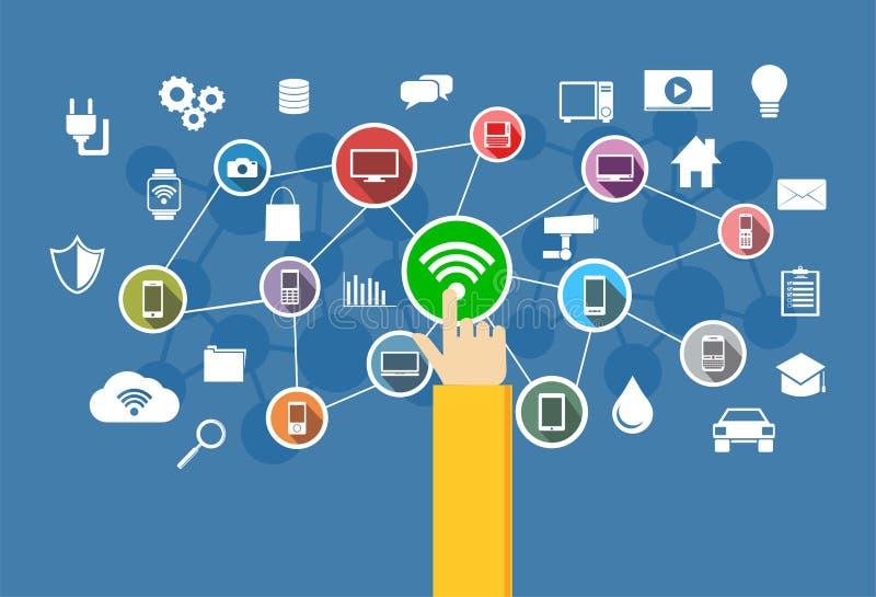 Conexión inalámbrica Concepto de la tecnología de la información libre illustration
