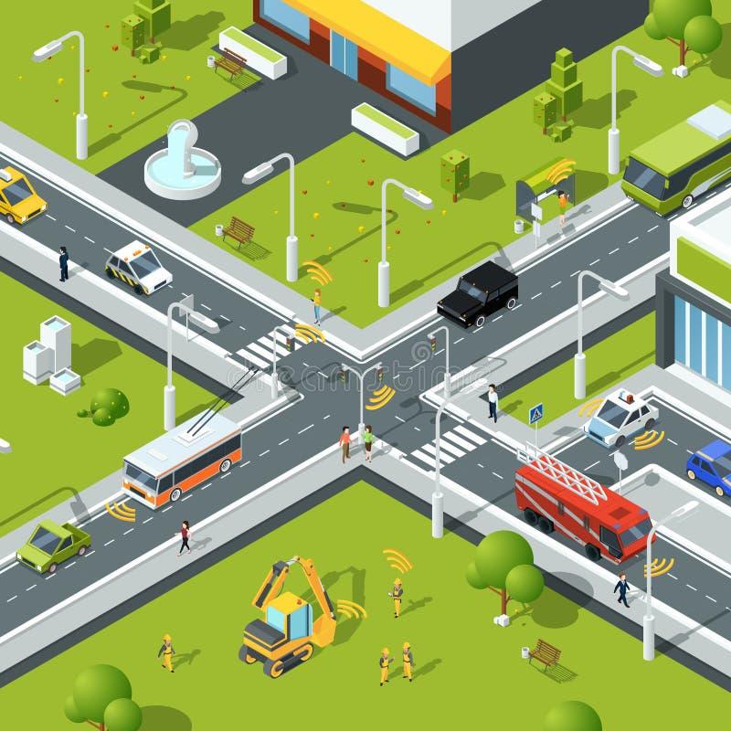 Conexión inalámbrica dentro del tráfico urbano Ejemplo del cruce en estilo isométrico stock de ilustración