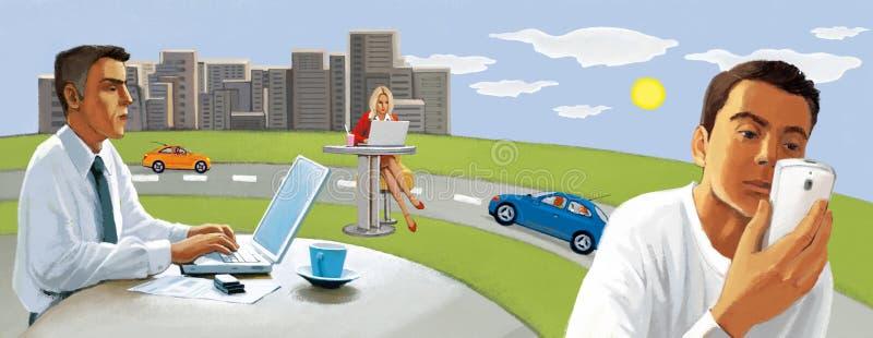 Conexión inalámbrica La gente trabaja remotamente fuera de la oficina Pastoral urbano ilustración del vector