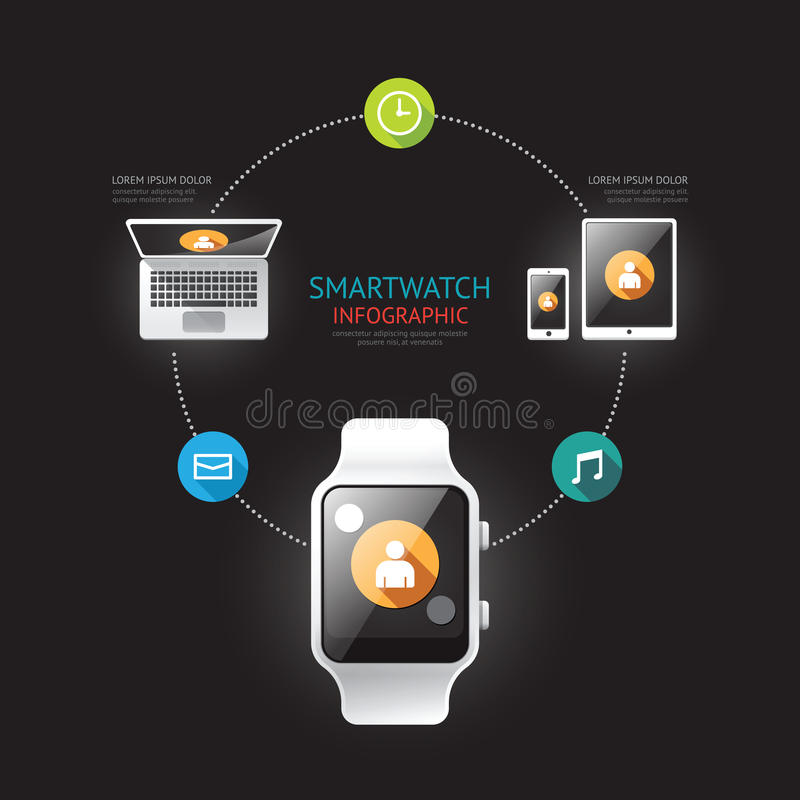 Conexión infographic del dispositivo de Smartwatch con los iconos tim libre illustration